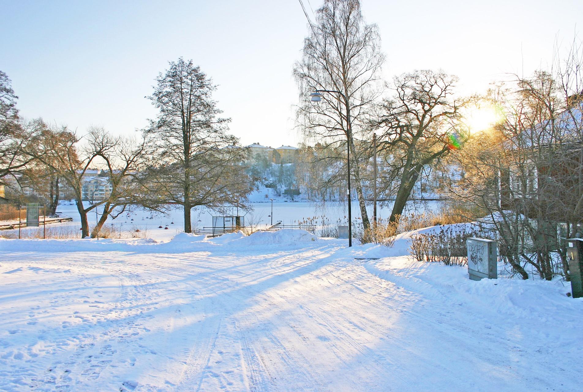 Äppelvikshamnen i vinterskrud
