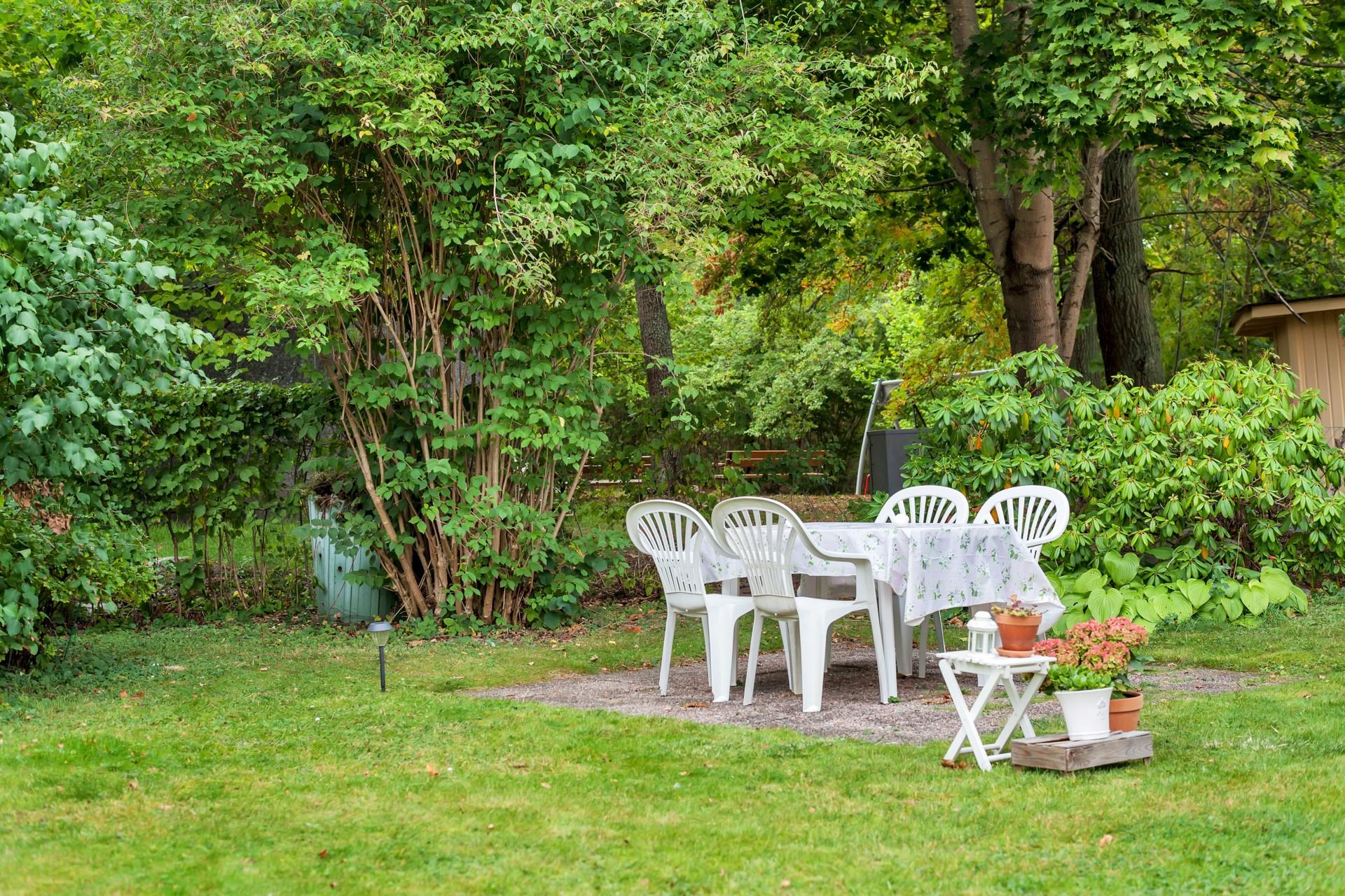 Underbar villaträdgård med utemöbler och frukträd