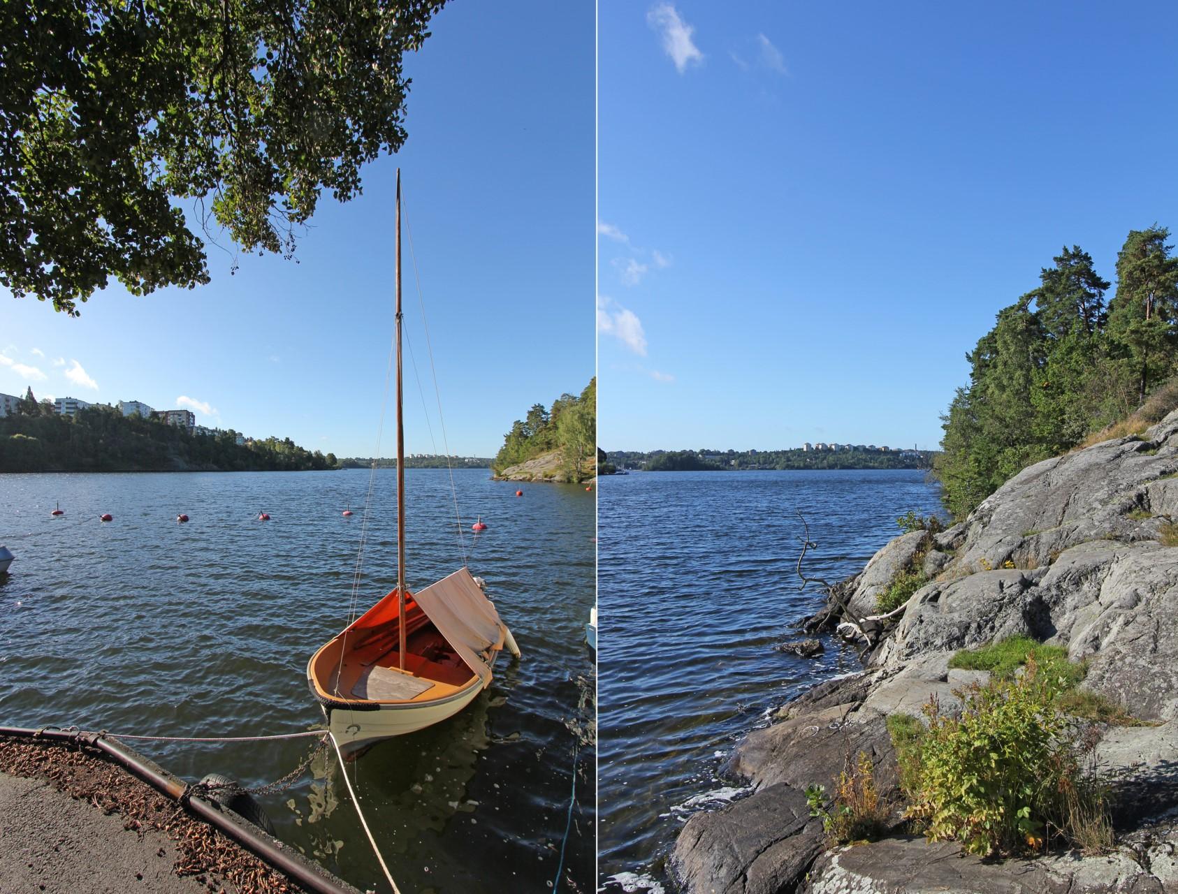 Detalj båt och vatten Äppelvikshamnen