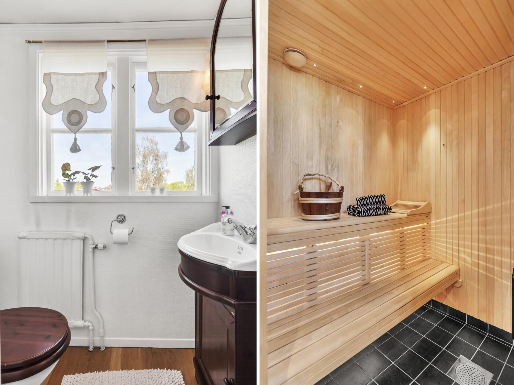 Detaljbild wc entréplan och bastu i souterräng