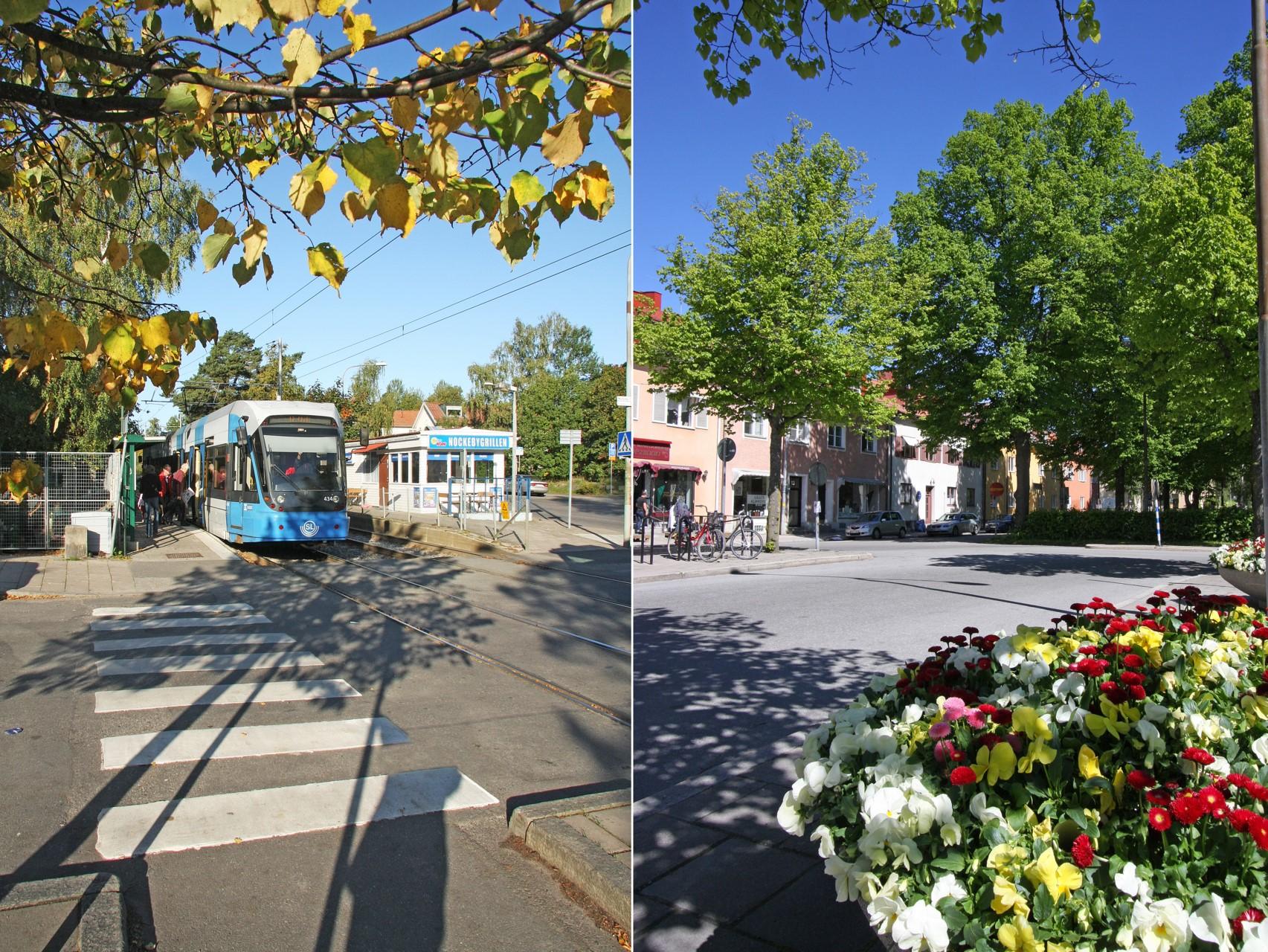 Nockeby Torg med spårvagnshållplats