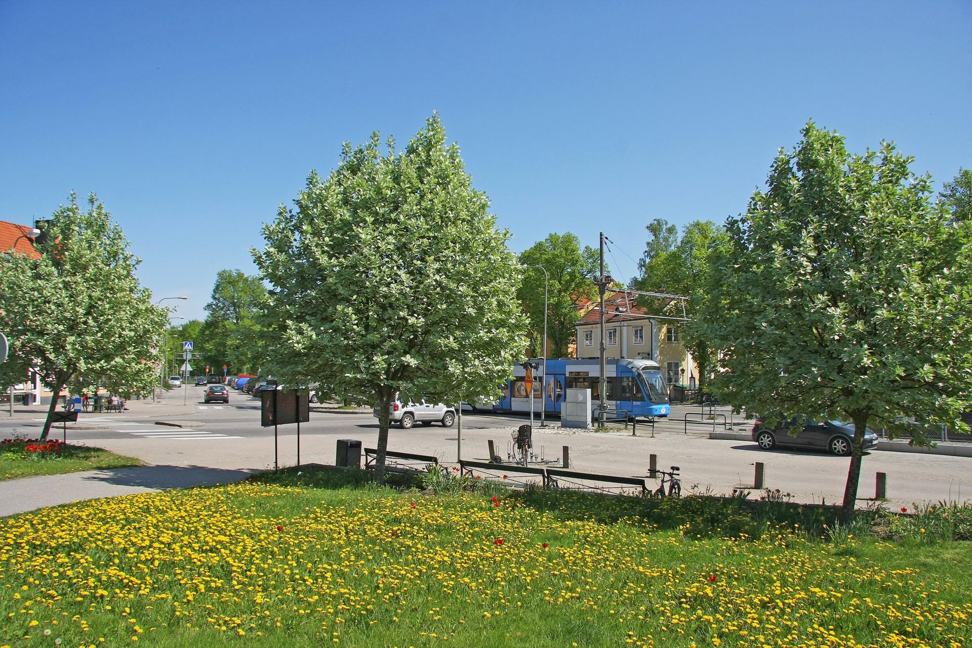 Alléparken med spårvagnshållplats