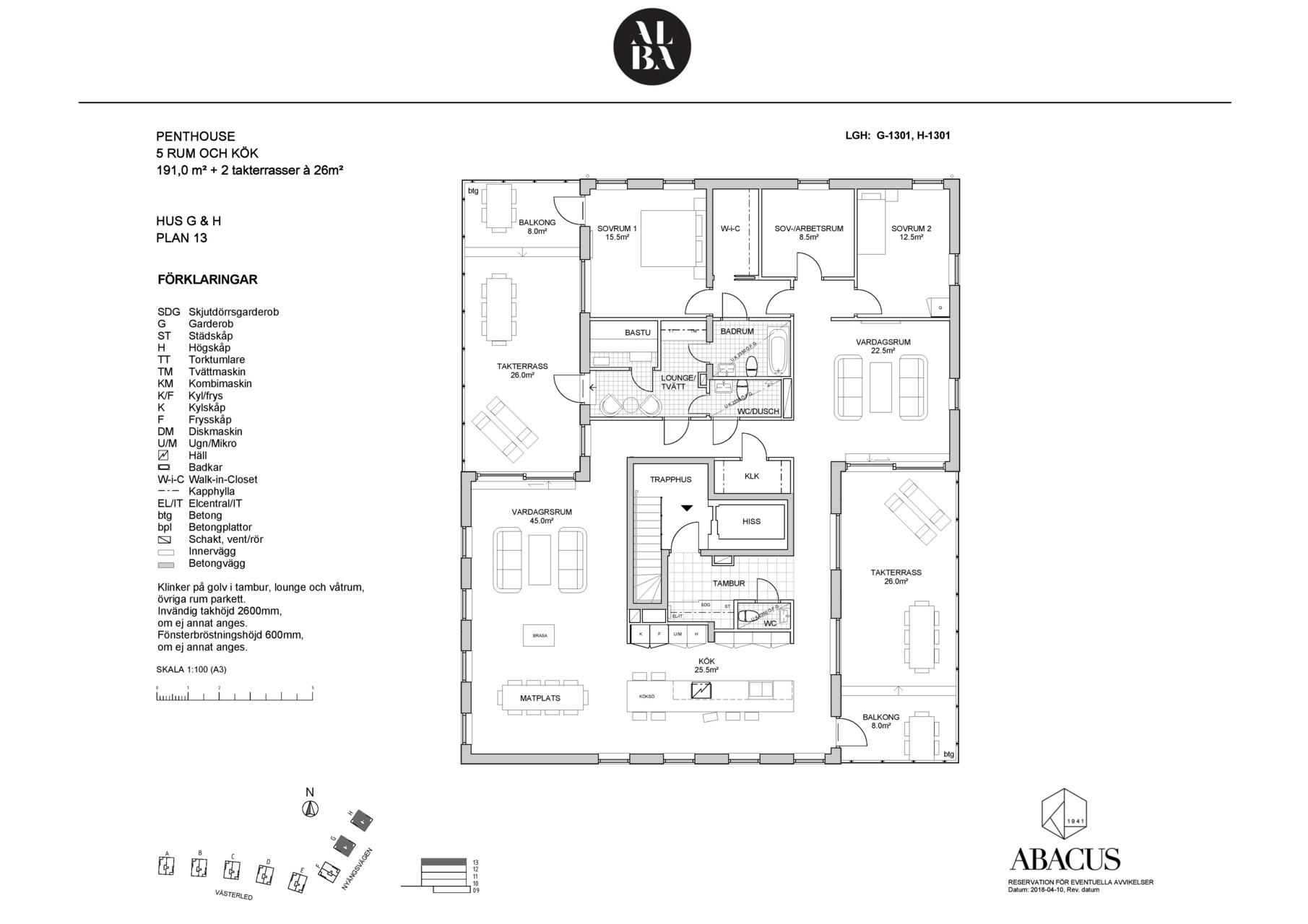 Bofaktablad Alba - G och H plan 13
