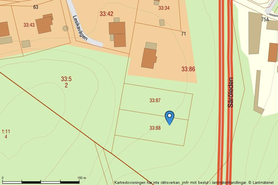 Lesikavägen 71B - Fastighetskarta