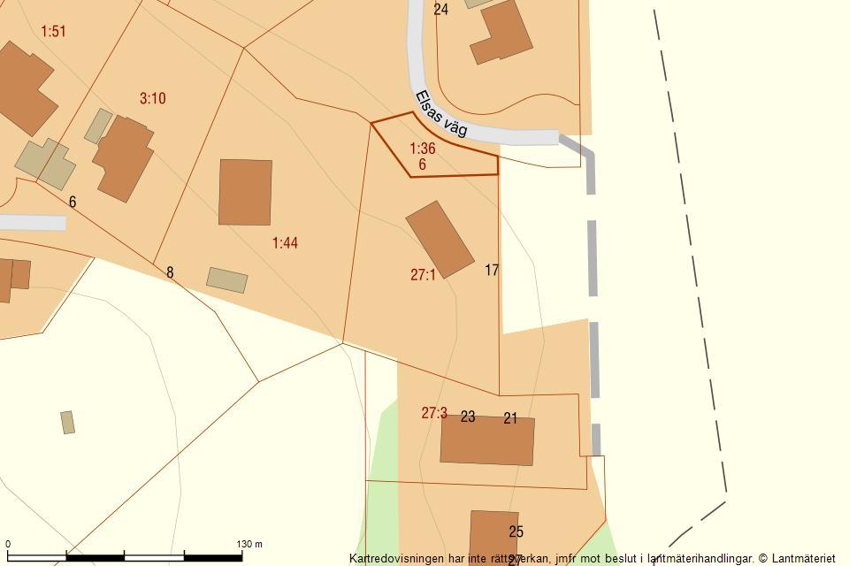 Elsas väg 17 - Fastighetskarta