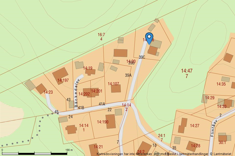 Bäckedalsvägen  39C - Fastighetskarta