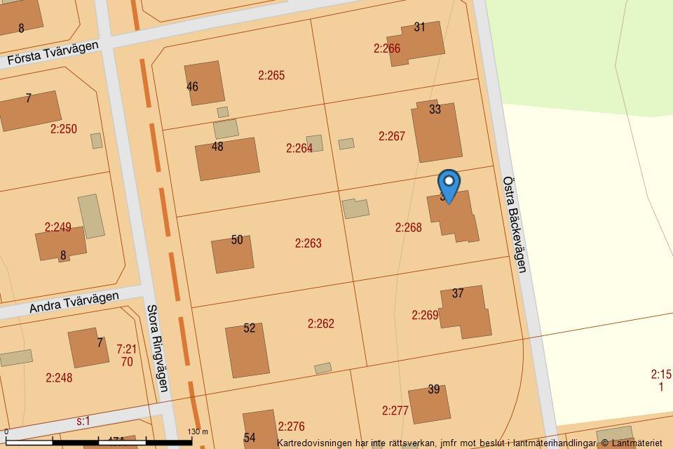 Östra Bäckevägen 35 - Fastighetskarta