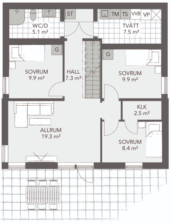 Årekärrsvägen 72A - Exempel på planlösning