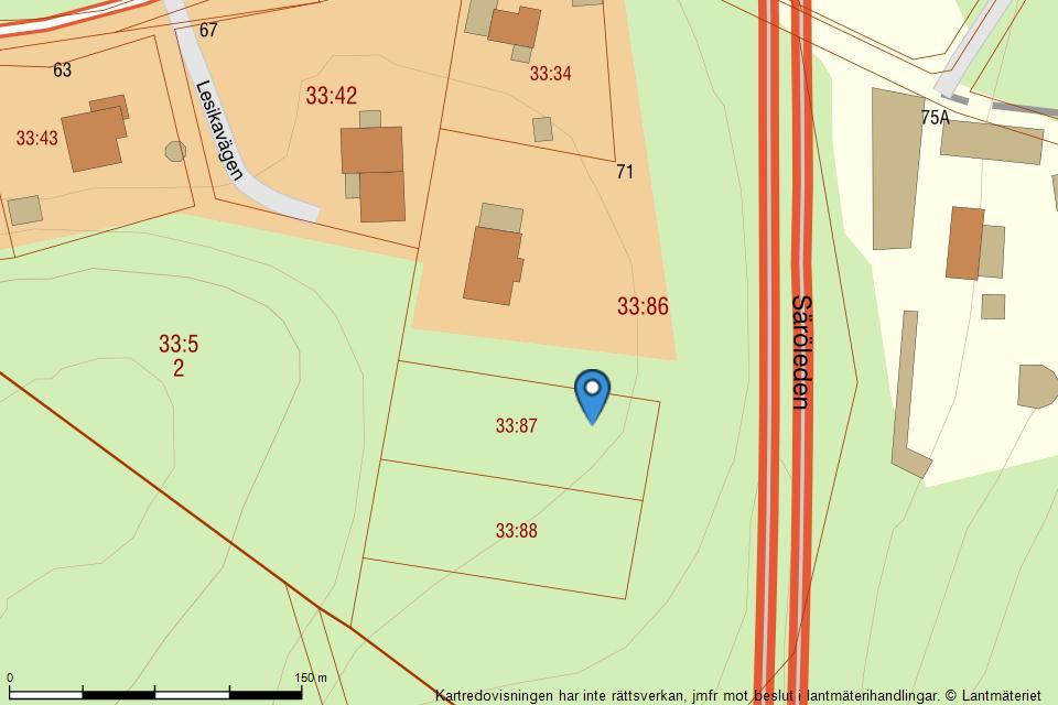 Lesikavägen 71A - Fastighetskarta