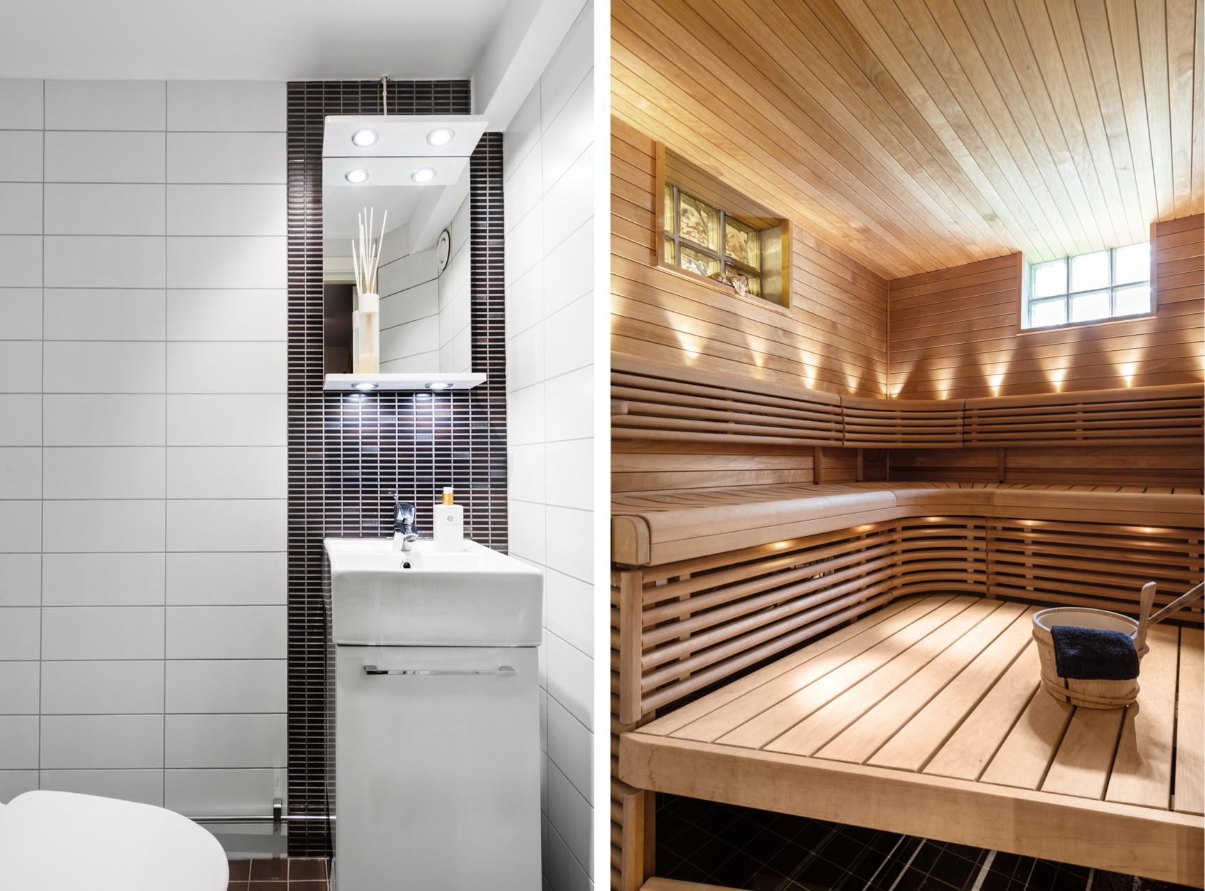 Separat toalett i anslutning till dusch/bastu