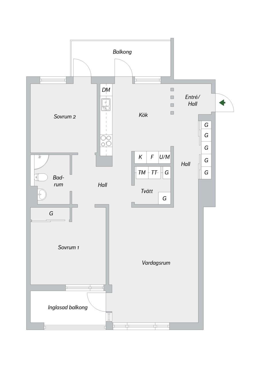 Konvojgatan 1, vån 6 - Planlösning