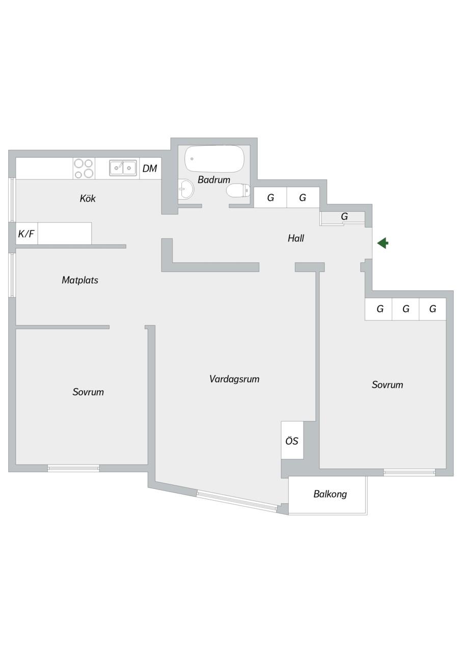Klubbacken 39, 3 tr - Planritning