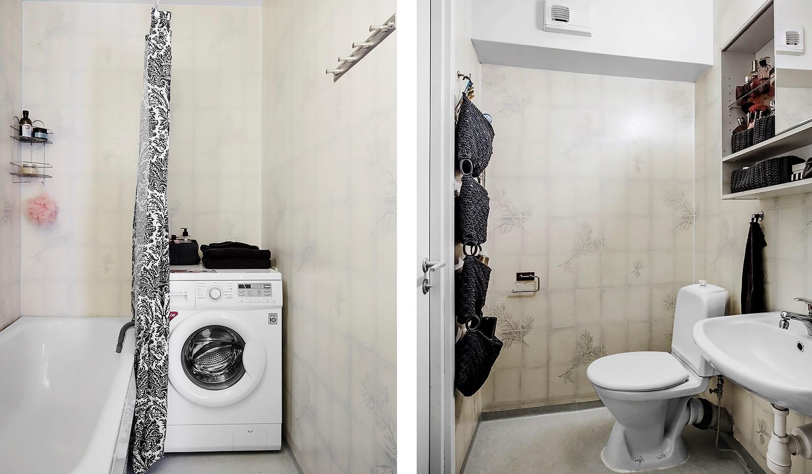 Lejonets gata 374, 6 tr - Badrum med tvättmaskin och badkar