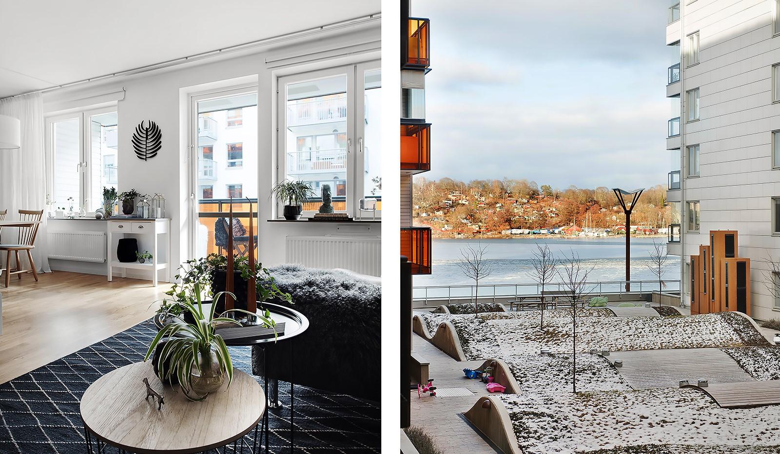 Årgångsgatan 7, 2tr - Detalj vardagsrum samt vattenutsikten från det stora sovrummet