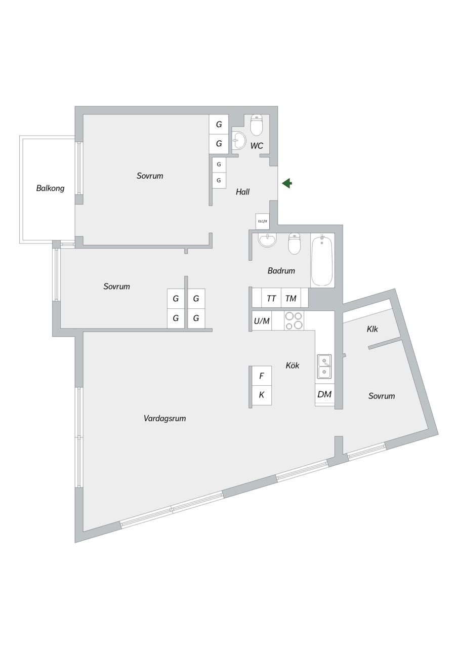 Vingårdsgatan 7, 6/7 tr - Planlösning