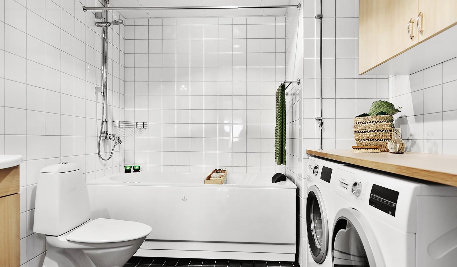 Vingårdsgatan 7, 6/7 tr - Badrum med badkar, tvättavdelning och golvvärme