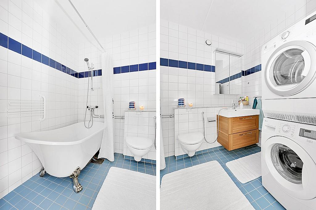 Lugnets Allé 65, 1tr - Badrum med tvättpelare
