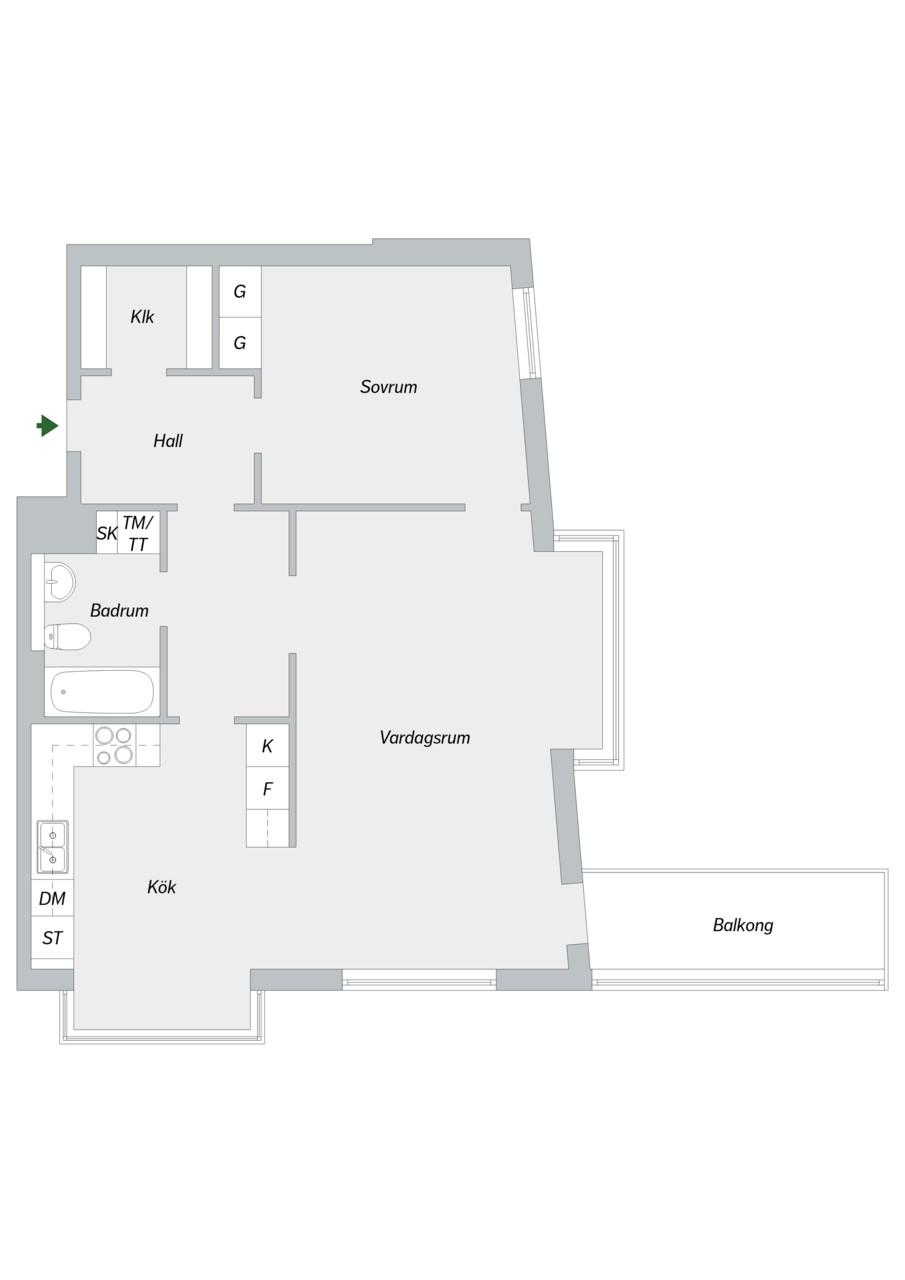 Hammarby Allé 119, 5 tr - Planlösning