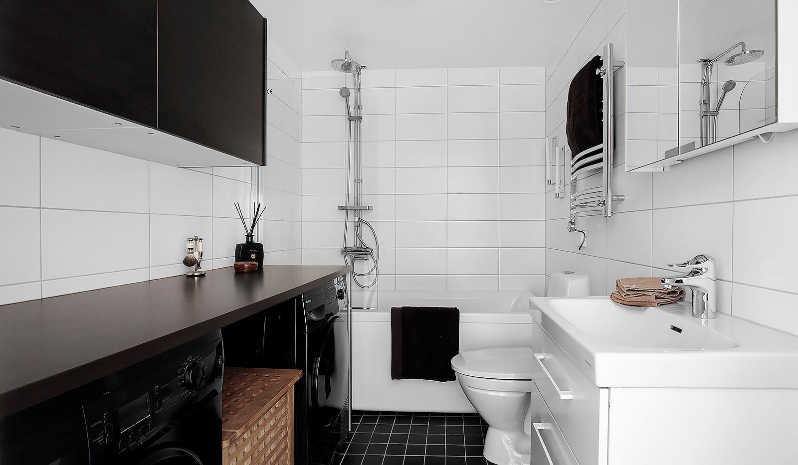 Hornsgatan 37, 4 tr - Nytt badrum med tvättmaskin och torktumlare