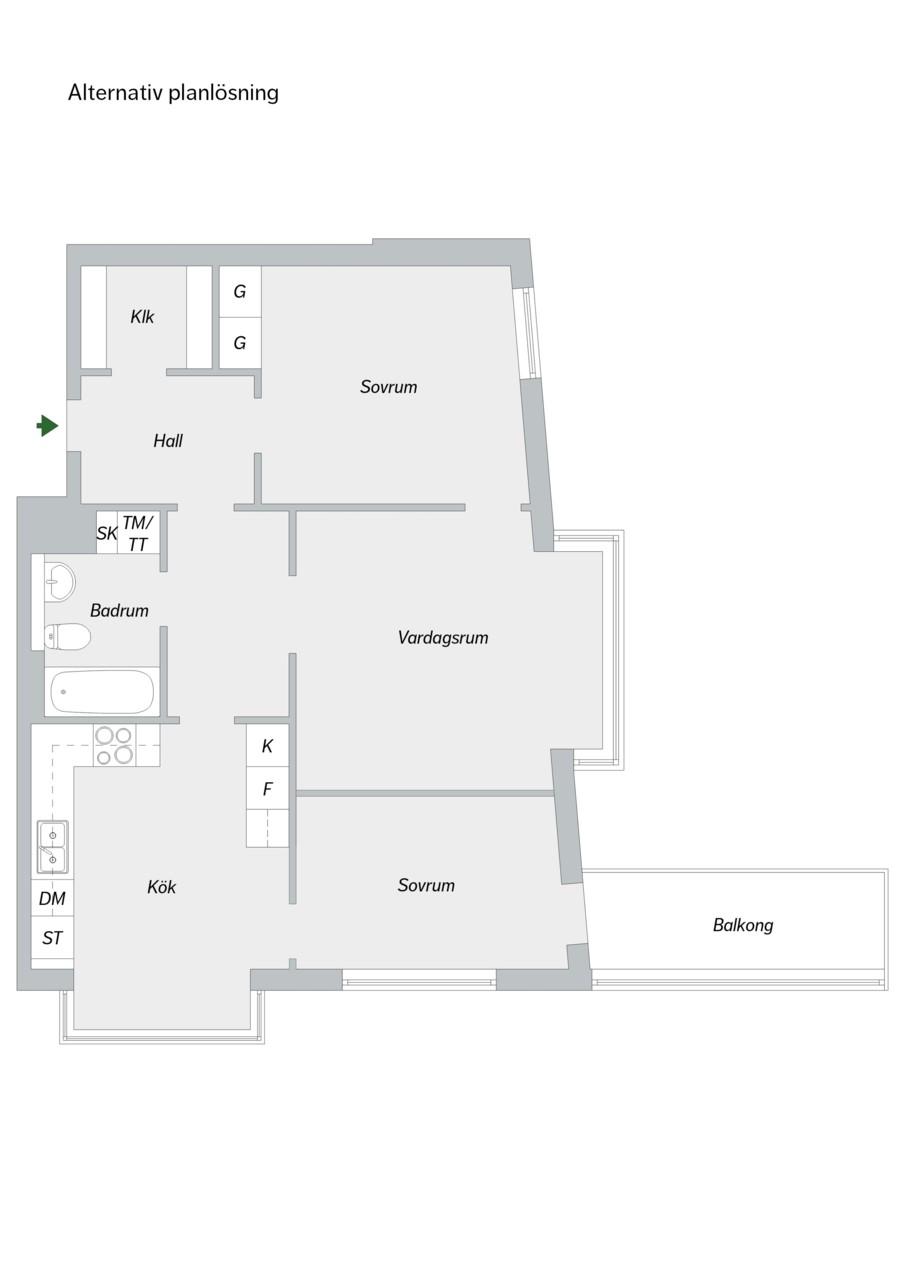 Hammarby Allé 119, 5 tr - Alternativ planlösning