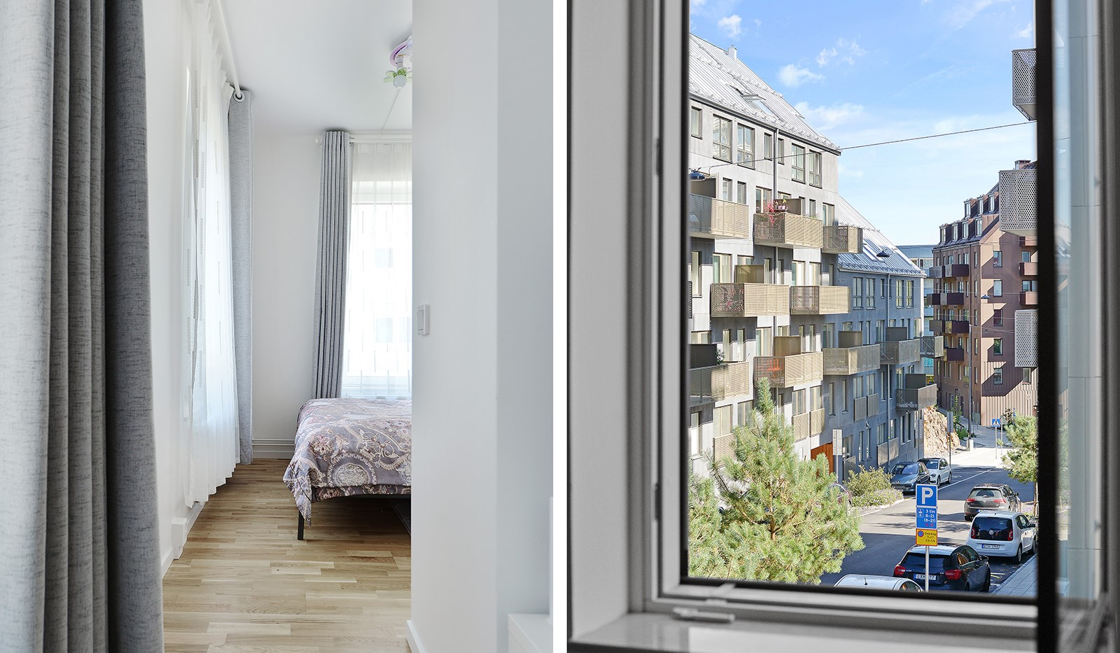 Lagmansbacken 7,1tr - Ingång till sovrummet och utsikt fr fönstren