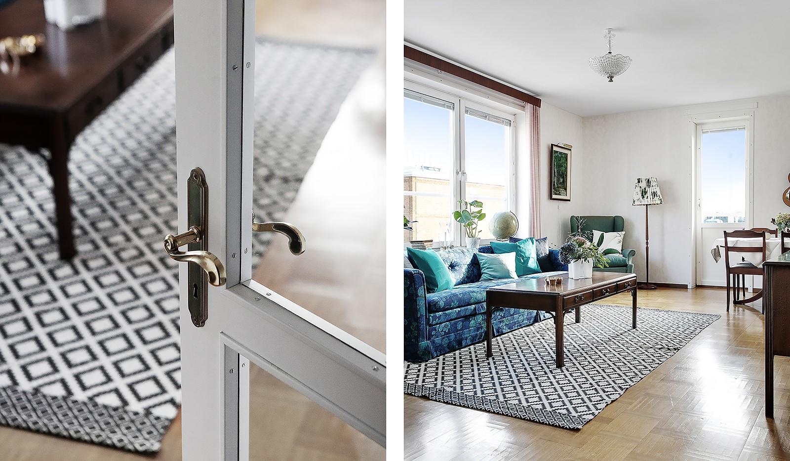Bohusgatan 35, 5 tr - Till vardagsrummet är det en vacker glasad dörr med vackra beslag