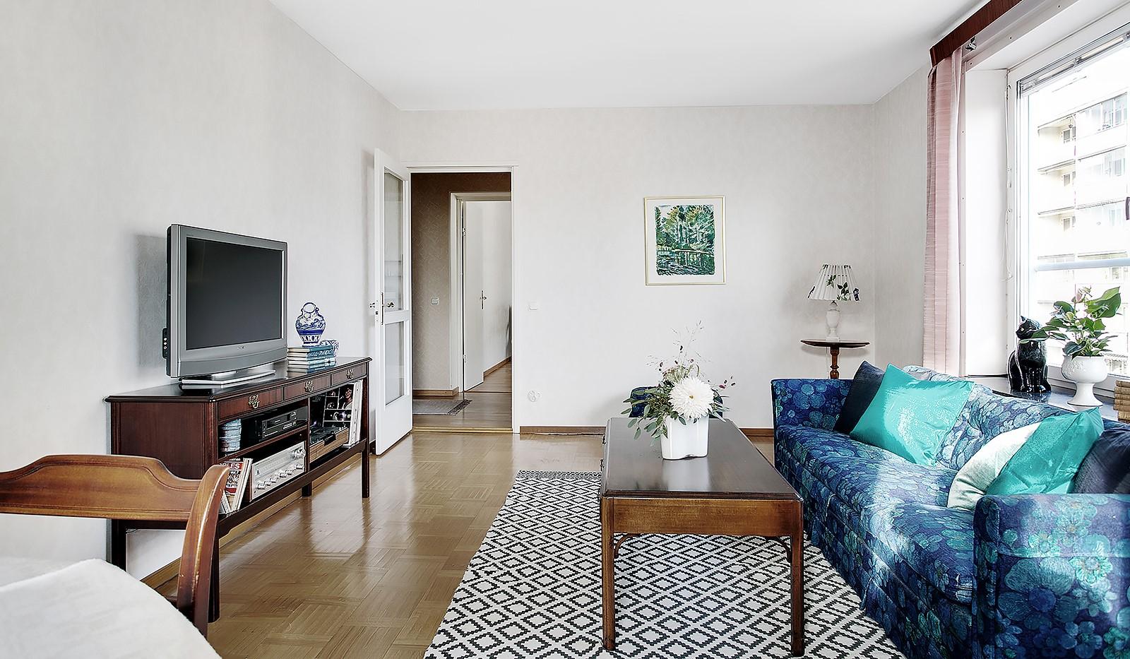 Bohusgatan 35, 5 tr - Originalparketten är välbevarad i vardagsrummet