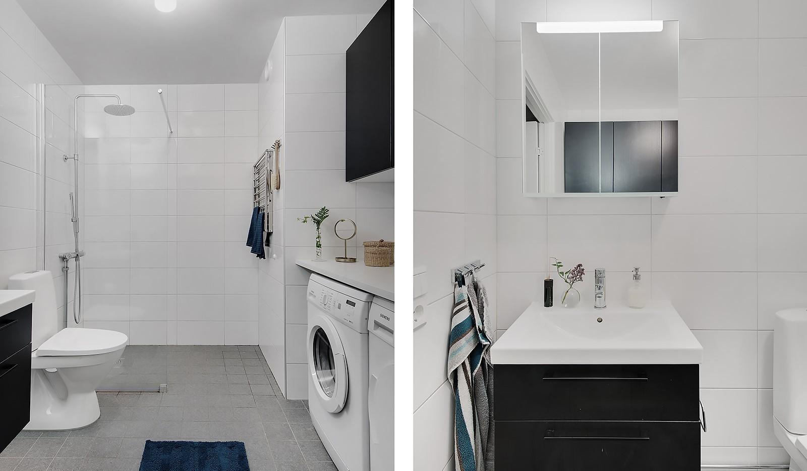 Årgångsgatan 5, 5 tr - Stora badrummet med tvättmaskin och torktumlare