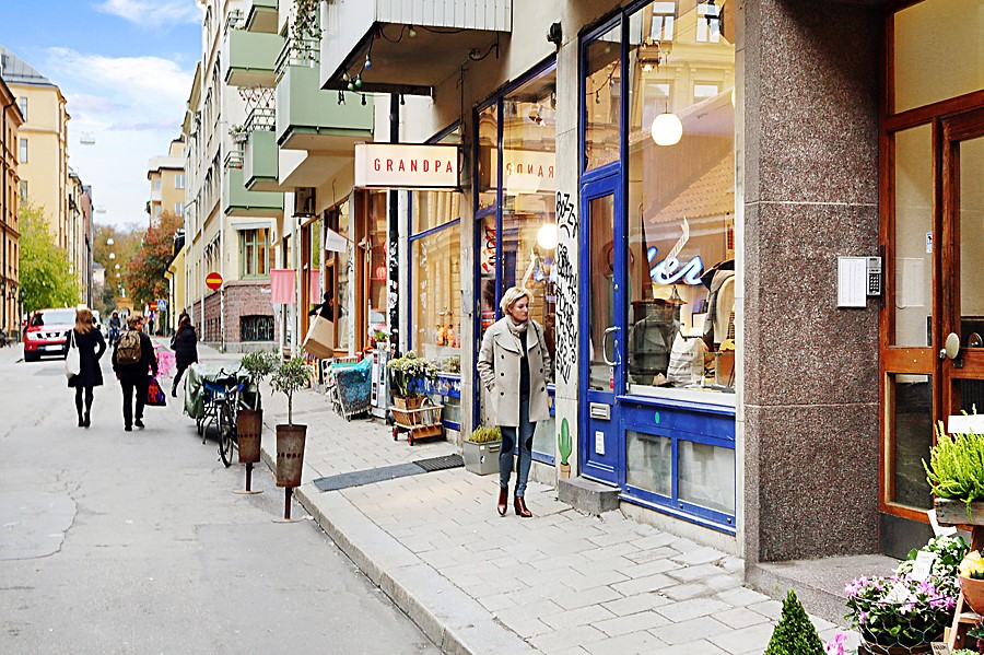Åsögatan 185 - Södermannagatan med caféer och butiker