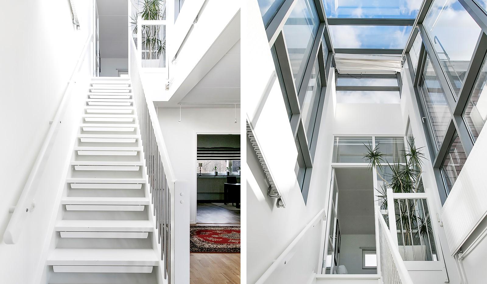 Sickla Kanalgata 64, vån 4 & 5 - Uppgången till plan två är helt inglasad och här flödar ljuset in från väggar och tak