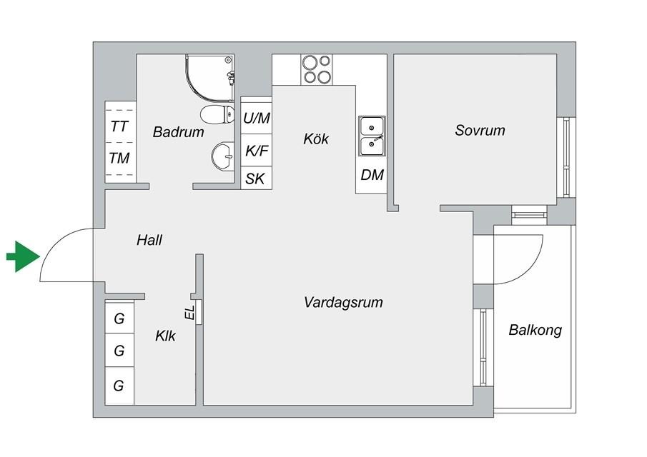 Fredriksdalsgatan 24, vån 6 - Planlösning