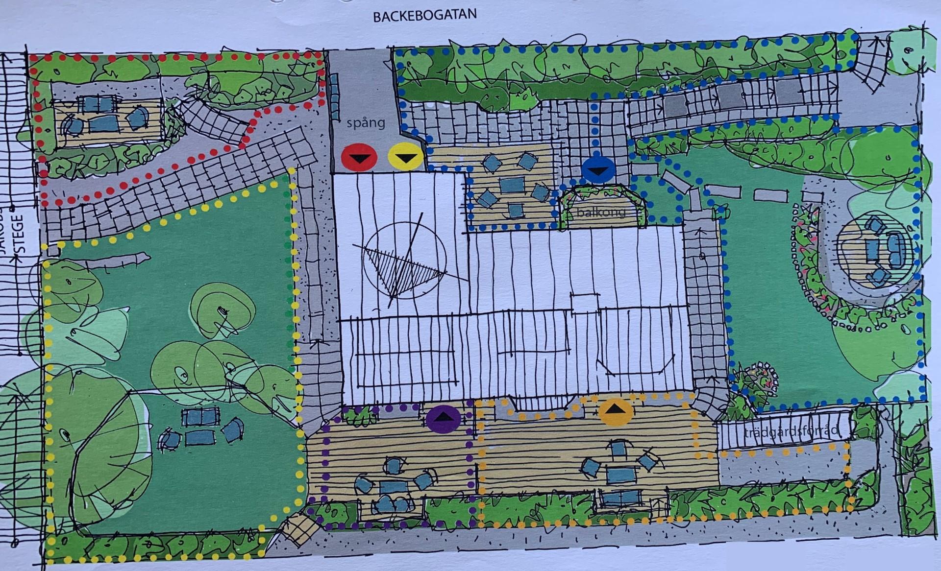 Backebogatan 20 - Trädgårdsplan, prickad röd yta anger bostadsrättens område
