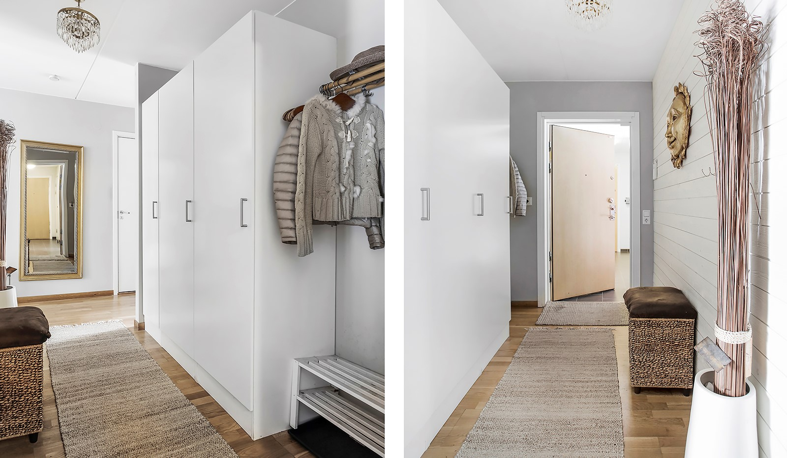Vinodlargatan 7, 1tr - Välkomnande hall med förvaring i 3 st garderober