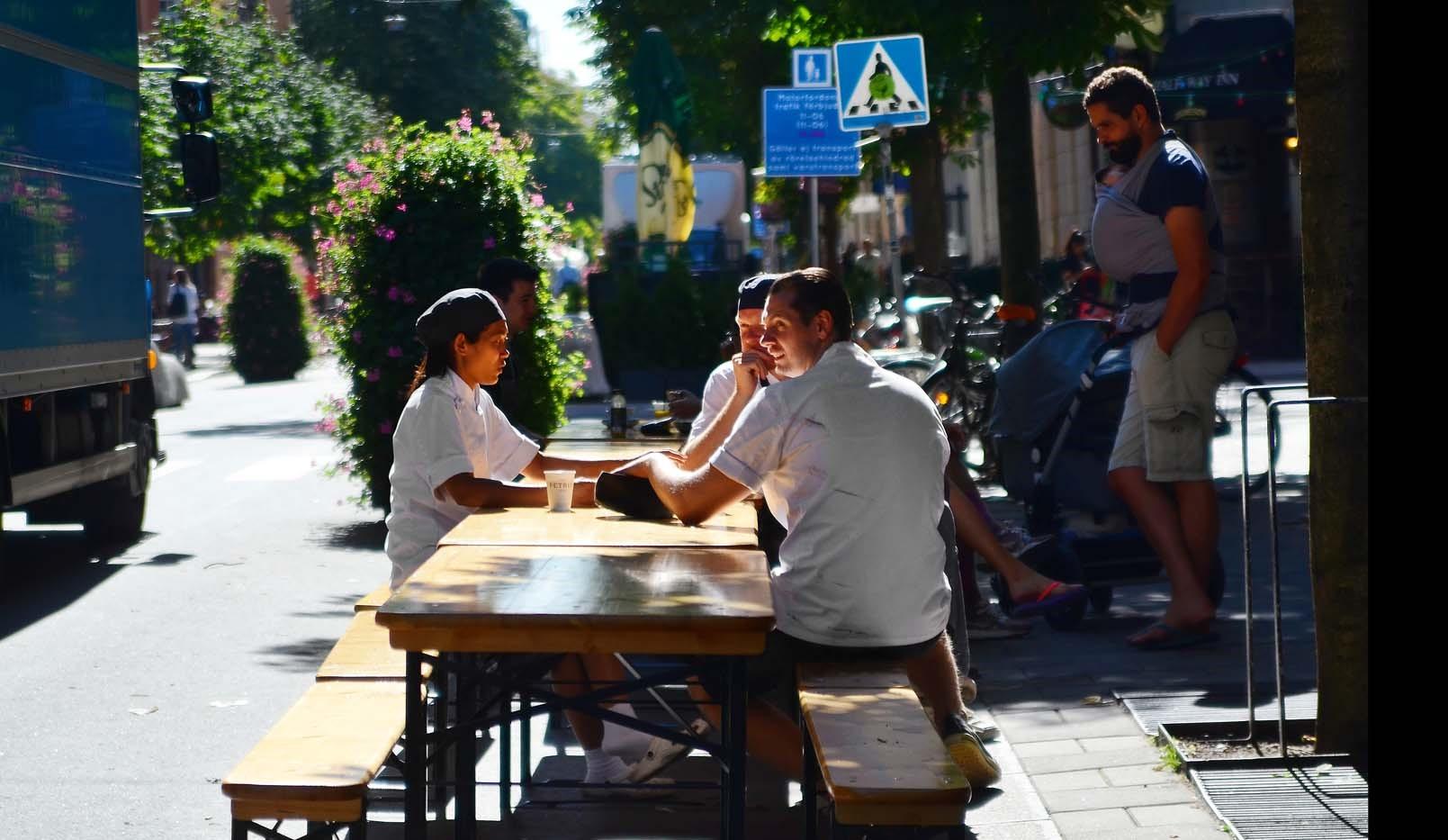 Fatburs Kvarngata 28 - Swedenborgsgatan uteserveringar sommartid