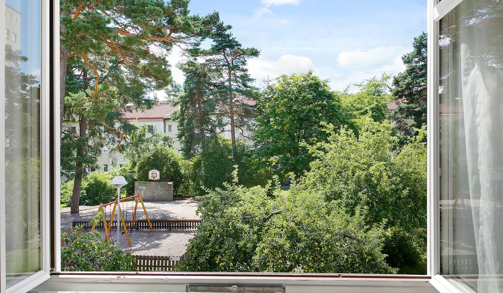 Kolbäcksgränd 28, 2 tr - Vacker utsikt över grönskande gård