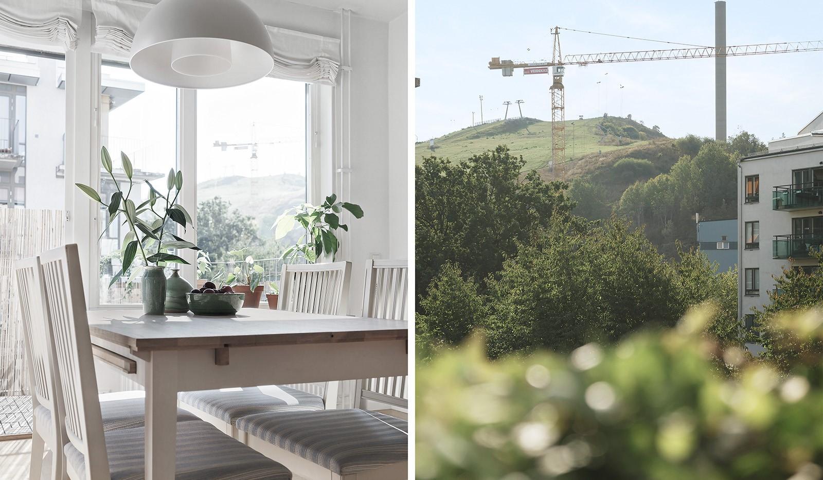 Midskeppsgatan 19, vån 4 - I köket ryms en ordentlig matplats med utsikt över Hammarbybacken