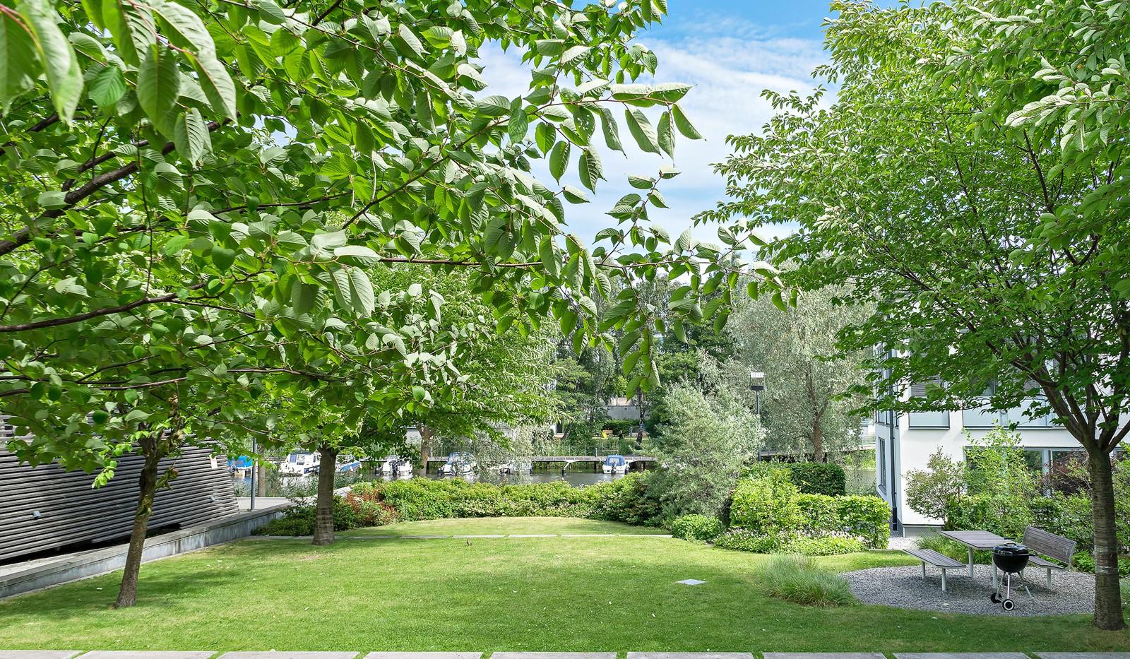 Midskeppsgatan 19, vån 4 - Grönskande innergård med utsikt över Sickla Kanal
