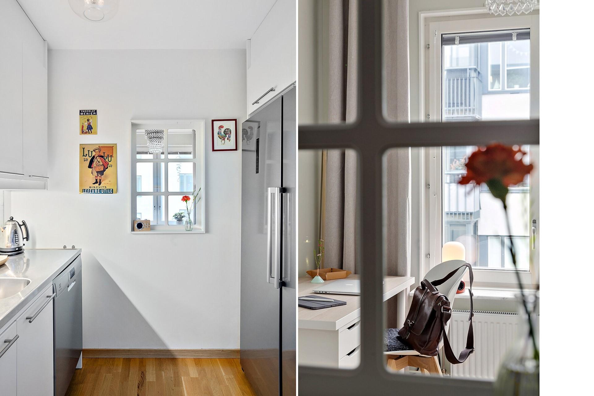 Sjöviksvägen 39, 5tr - Kök och fönster mot sovrum/arbetsrum.
