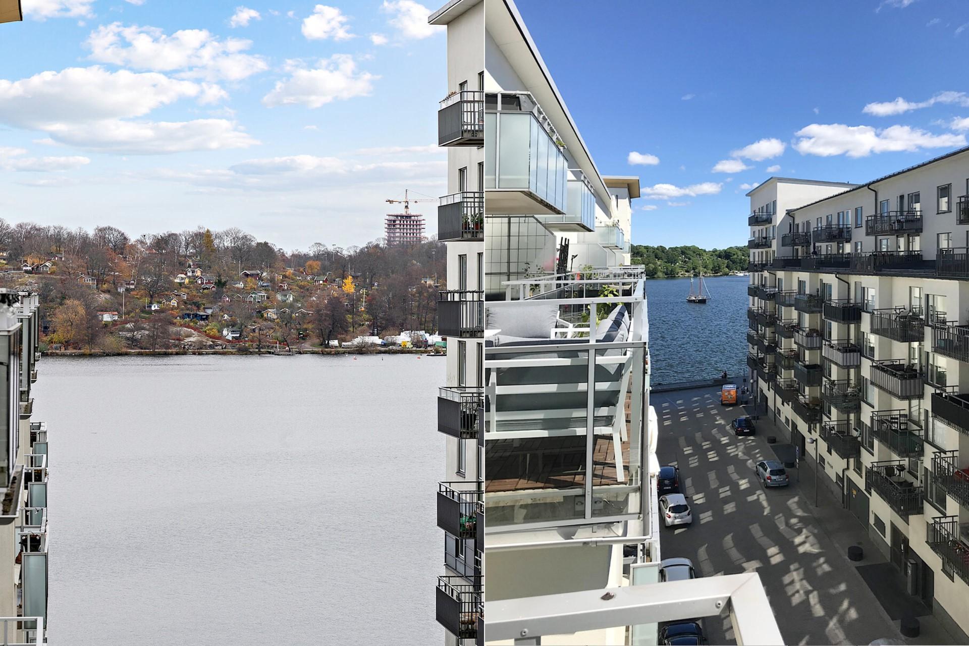 Sjöviksvägen 39, 5tr - Från balkongen erbjuds en fin utsikt mot Årstaviken och Tanto.