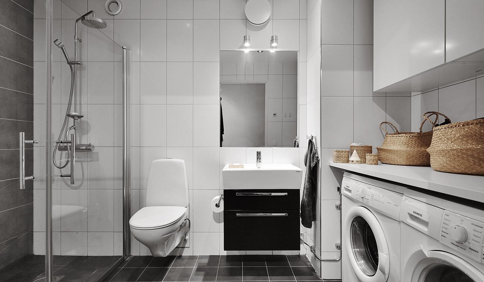 Marieviksgatan 38, 6 tr - Modernt badrum med stilrena materialval