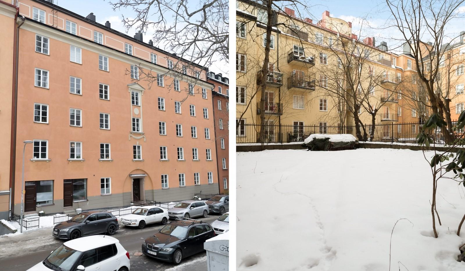 Folkskolegatan 20 - Vacker 20-tals byggnad - innergårdarna i vintervila