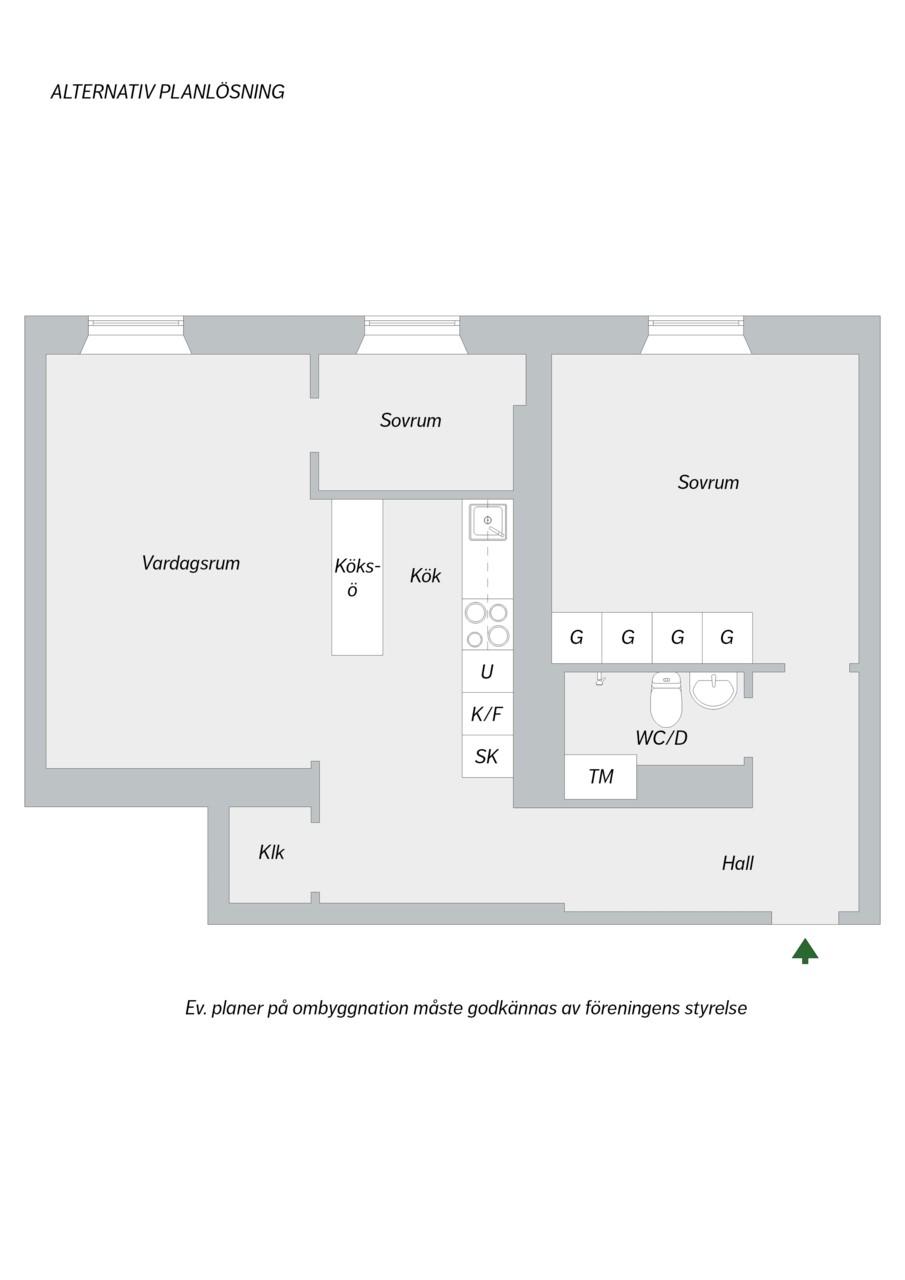 Folkskolegatan 20 - Alternativ planlösning - möjlig 3:a