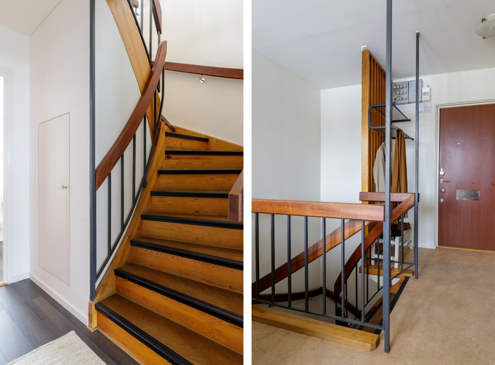 Tumba Torg 107, vån 5 - Trappan ner till vardagsrum, sovrummen och badrummet