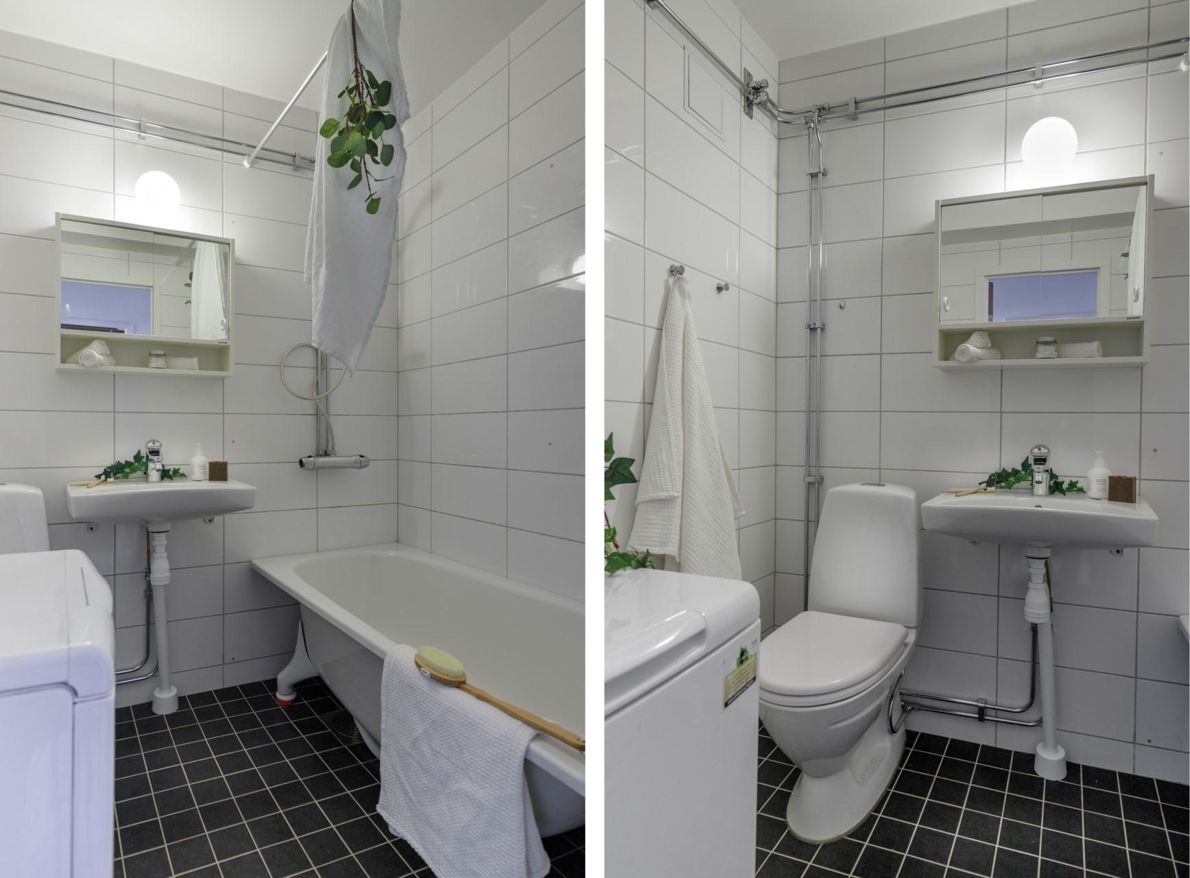 Tumba Torg 107, vån 5 - Helkaklat badrum med badkar och tvättmaskin