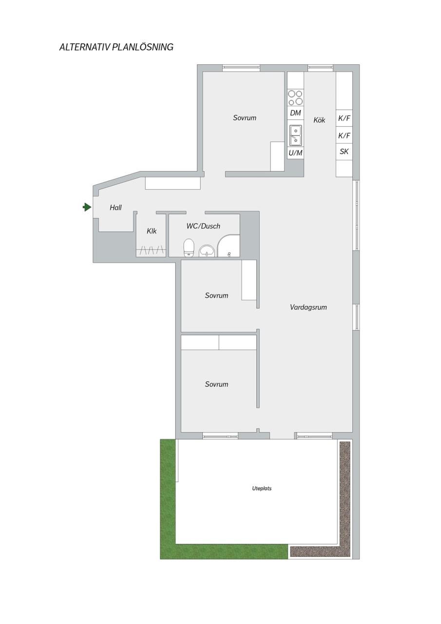 Kocksgatan 42 - Alternativ planlösning 2