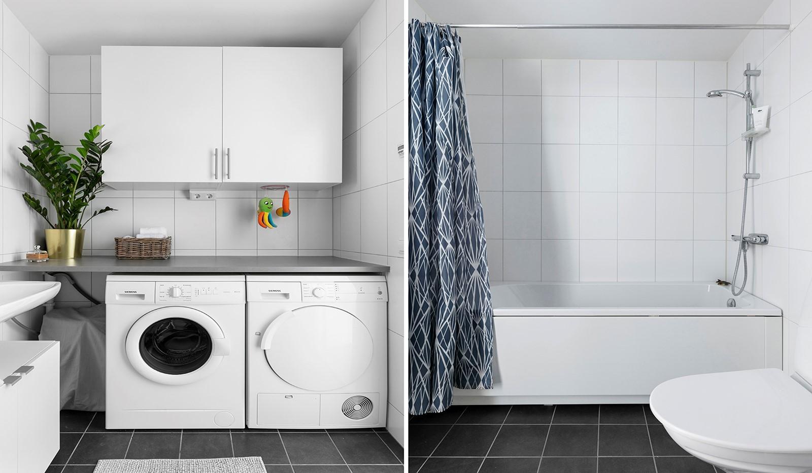 Marieviksgatan 44, 2 tr - Badrummet är utrustat med tvättmaskin och torktumlare